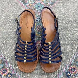 Vintage Navy and Gold Block Heel Leather Sandals